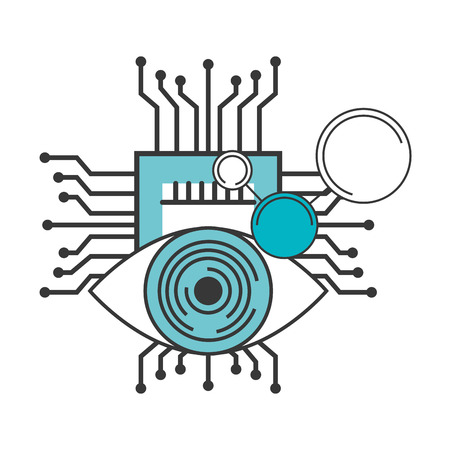 artificial intelligence surveillance motherboard circuit vector illustration
