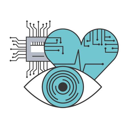 artificial intelligence surveillance heart medical circuit vector illustration