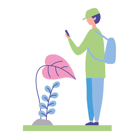 young man using smartphone in the nature landscape vector illustration