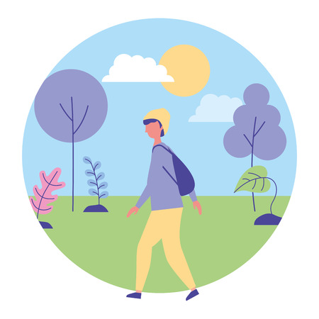young man walking in the outdoors landscape vector illustration
