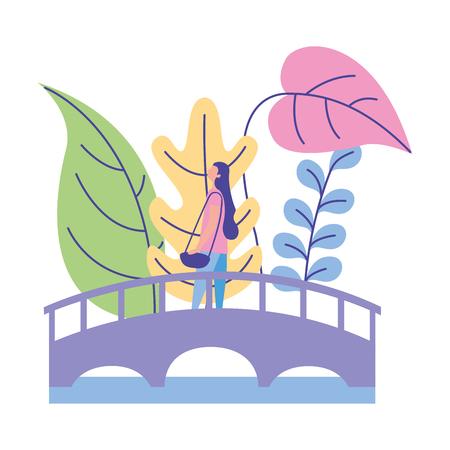 femme debout sur le pont nature plantes vector illustration