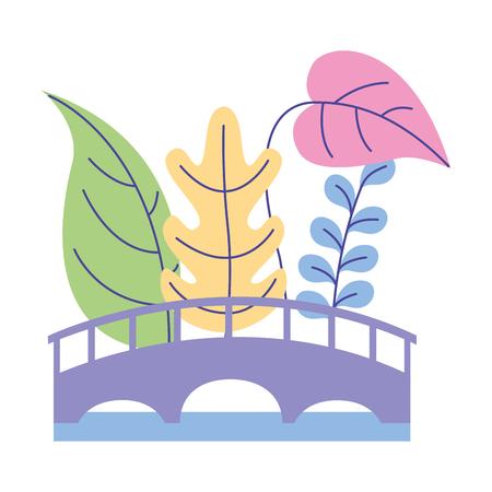 wooden bridge nature plants leaves foliage vector illustration