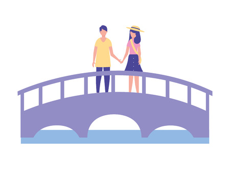 cute couple standing on the bridge vector illustration