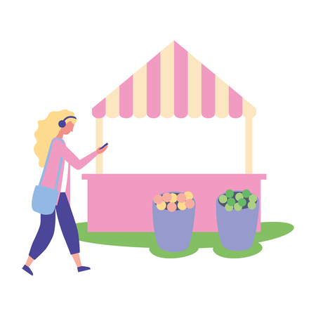 woman using smartphone flowers booth vector illustration Stock Illustratie