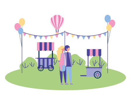 couple holding hands in the park booth garland balloons vector illustration