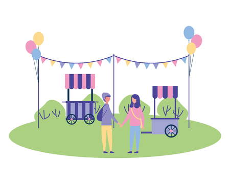couple in the park garland balloons booth vector illustration