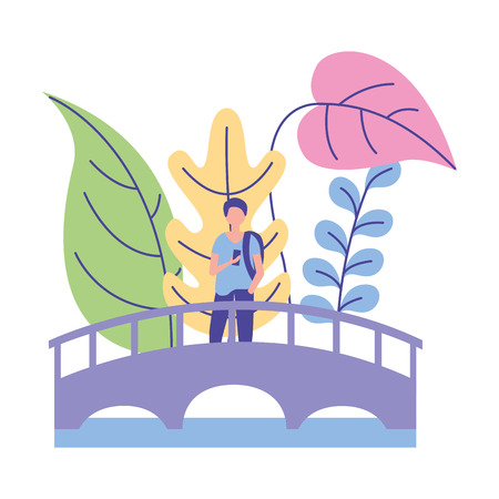 man walking in the bridge nature plants vector illustration