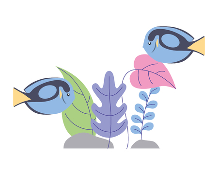 fishes with plants foliage wild scene vector illustration
