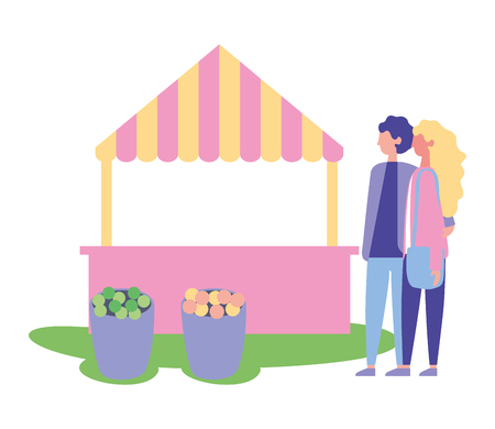 couple hugging park booth flower buckets vector illustration 向量圖像