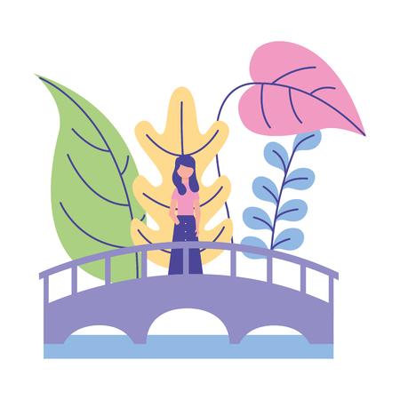 woman standing on the bridge nature plants vector illustration