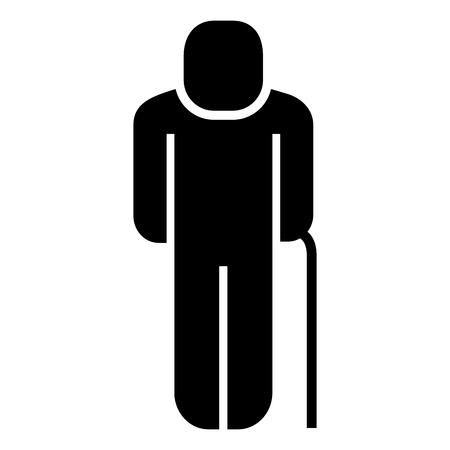 older man with walk cane pictogram vector illustration