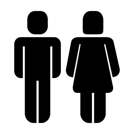 man and woman standing figure pictogram vector illustration