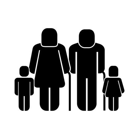 elderly man and woman with grandchilds pictogram vector illustration Illustration