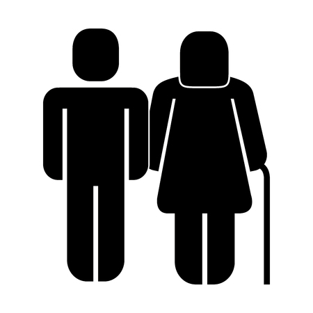 man with older woman walk stick pictogram vector illustration Ilustracja