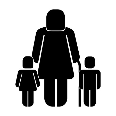 old woman grandma with grandson and granddaughter pictogram vector illustration 向量圖像