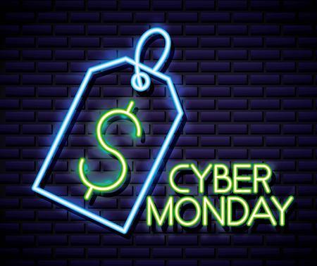 cyber monday shop ticket symbol dollar neon vector illustration