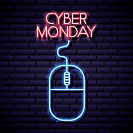 cyber monday shop mouse neon sign vector illustration  イラスト・ベクター素材