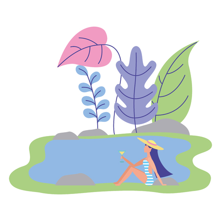 woman in swimwear holding cocktail in the lake relaxing vector illustration