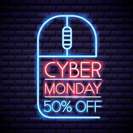 cyber monday mouse with neon sign discount porcent vector illustration
