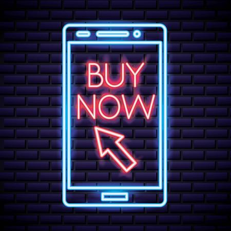 cyber monday smartphone buy now arrow neon style vector illustration Illustration