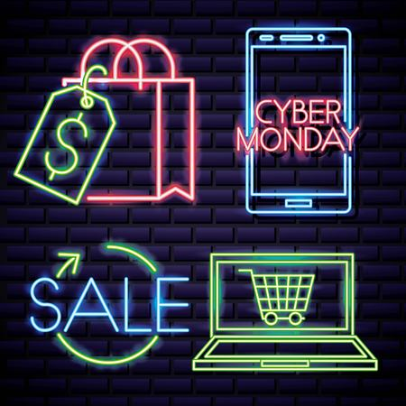 cyber monday smartphone neon sign shopping bag vector illustration