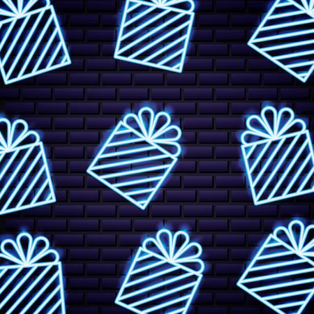 cyber monday gift boxes neon style background vector illustration