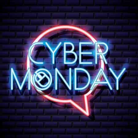 cyber monday bubble neon sign style vector illustration