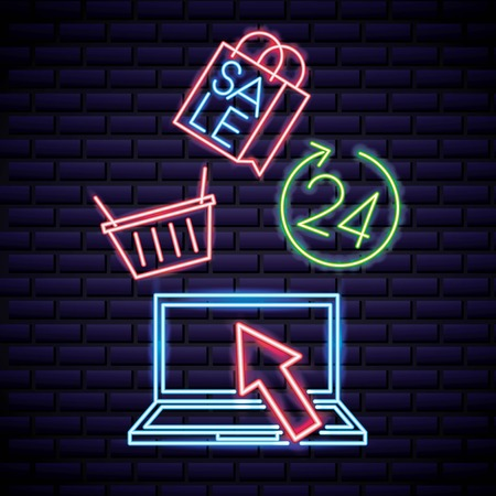 cyber monday sale shop bag computer neon arrow pointed vector illustration