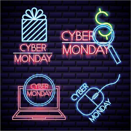cyber lundi néon loupe boîte cadeau ordinateur signe illustration vectorielle