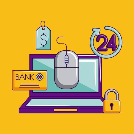 cyber monday credit card technology padlock vector illustration