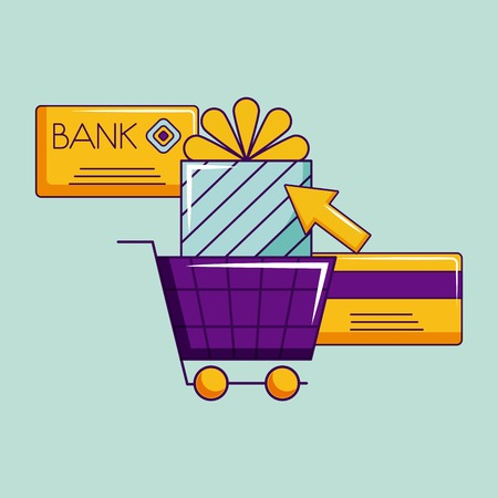 cyber monday credit card shopping car gift box vector illustration