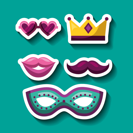 party mask night heart glasses crown princess moustache mouth and blanket mistery vector illustration Çizim
