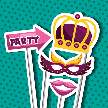 party mask night arrow party sign crown mouth and blanket mistery vector illustration  イラスト・ベクター素材