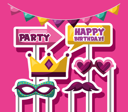 party mask night pennants decoration party arrow sticks photos vector illustration Standard-Bild - 109721294