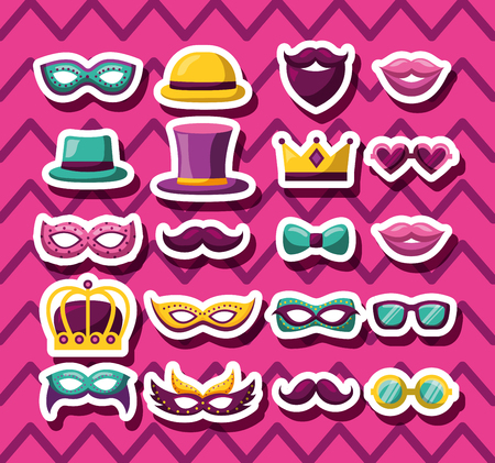party mask night blankets mistery hats mouths vector illustration