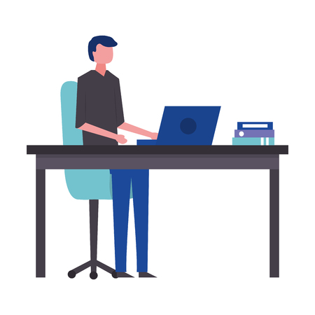 young man in workplace avatar character vector illustration design Çizim