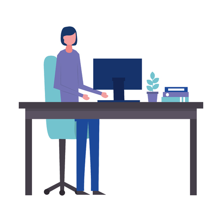 young woman sitting in chair office avatar character vector illustration design