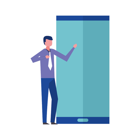 businessman elegant with hand up and smartphone vector illustration design Çizim
