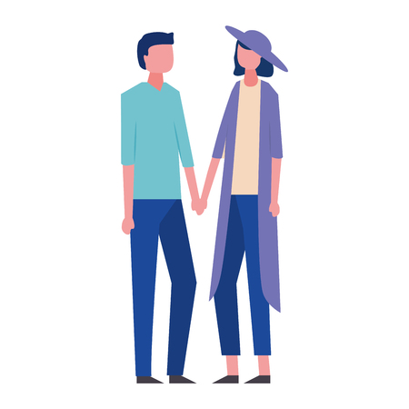 young couple holding hands avatar character vector illustration design