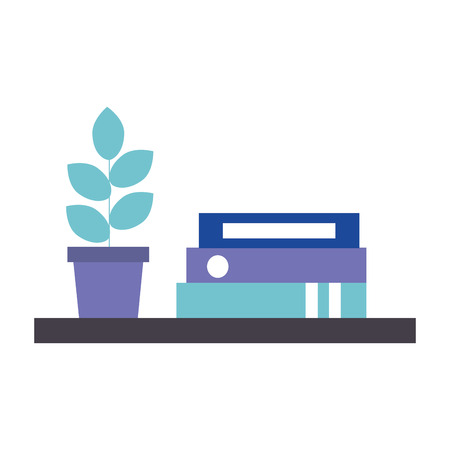 library books with house plant isolated icon vector illustration design
