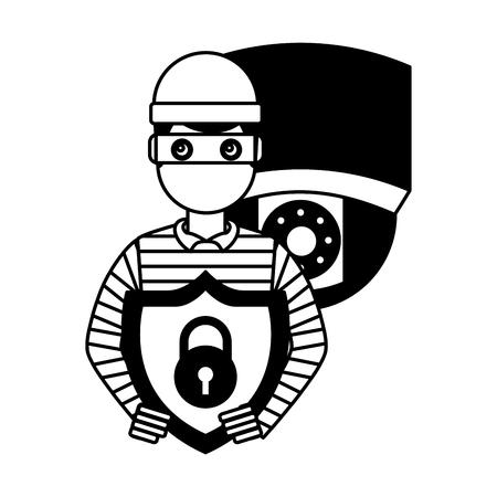 hacker thief holding shield protection camera surveillance vector illustration