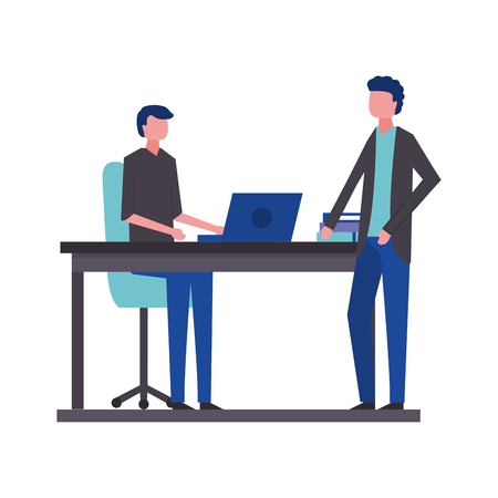 young men in workplace avatar character vector illustration design Stok Fotoğraf - 109721330