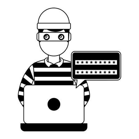 hacker thief laptop computer password access vector illustration