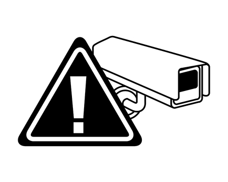 camera surveillance warning alert sign vector illustration