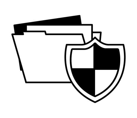 shield protection folder file data document vector illustration Illustration