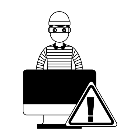 hacker thief computer alert attack sign vector illustration