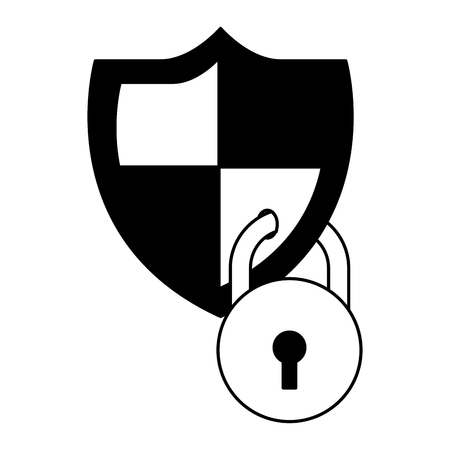 shield protection system data cyber security vector illustration