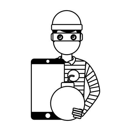 hacker thief smartphone bomb attack vector illustration