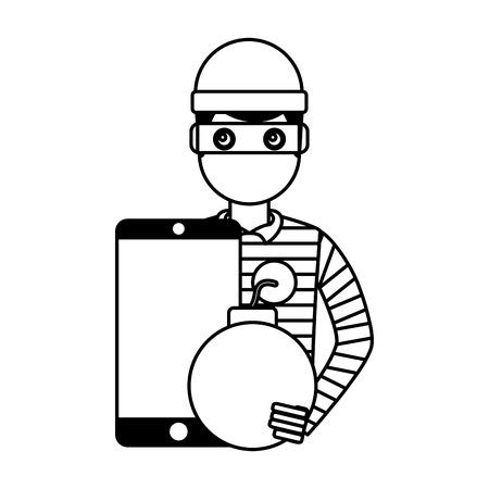 hacker thief smartphone bomb attack vector illustration Foto de archivo - 109721341