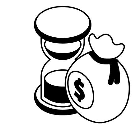 money bag hourglass time business concept vector illustration